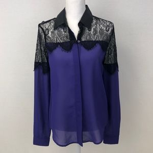 3/$25 GLO Lace Button Up Blouse Size Medium NWOT